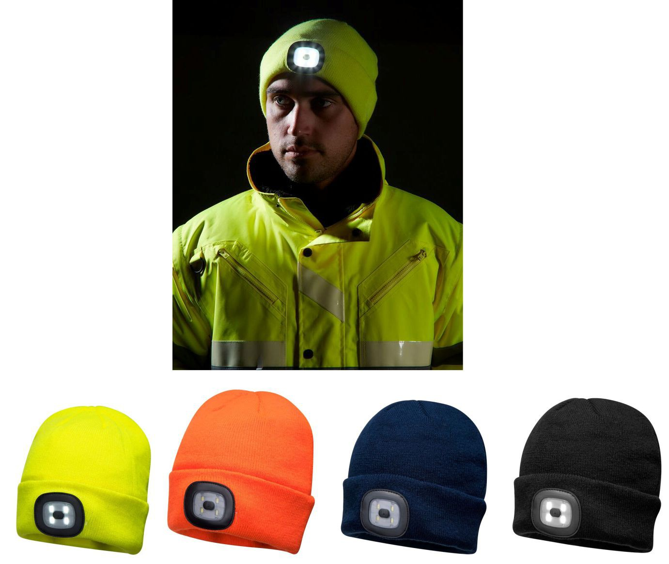 BEANIE HAT YELLOW WITH LED HEAD LIGHT (USB RECHARGEABLE) B029