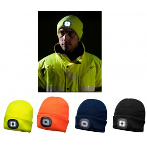 BEANIE HAT BLACK WITH LED HEAD LIGHT (USB RECHARGEABLE) B029
