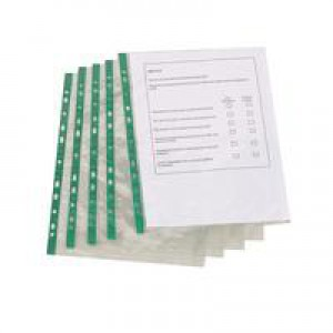 *Q Connect Punched Pockets A4 Glass Clear Top-Opening Green Strip Pack of 100 KF01121 (464718) 840044