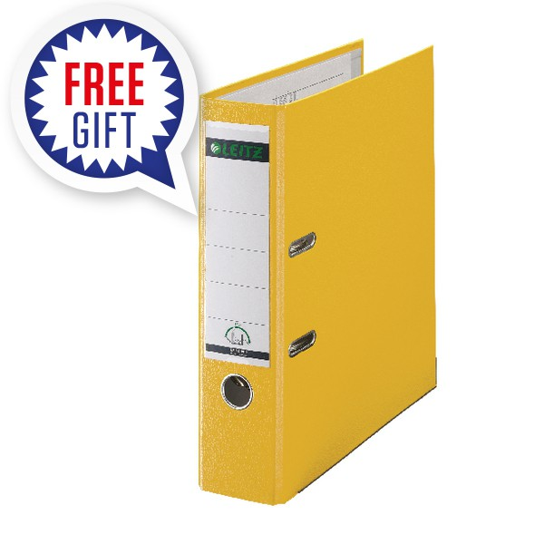Leitz 180 Polypropylene A4 80mm Yellow Lever Arch File (Pack of 10) 10101015