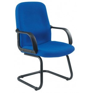 CANASTA CONFERENCE CHAIR BLACK ARMS/BASE ROYAL BLUE FABRIC