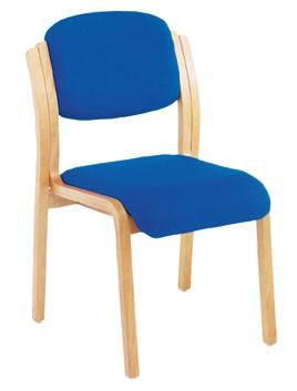 RENOIR BEECH WOOD FRAME MEETING SIDECHAIR -  FABRIC ROYAL BLUE