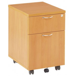 *ESSENTIALS MOBILE PEDESTAL TWO DRAWER BEECH - W:404mm d:500mm H:595mm
