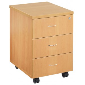 ESSENTIALS MOBILE PEDESTAL 3 DRAWERS 404W X 500d X 595h BEECH