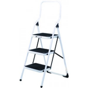 Folding Step Stool 3-Tread High Back White Aluminium 321678