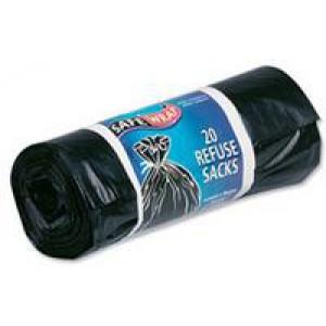 Safewrap Refuse Sack 20 per Roll Pack of 4 Black 0446