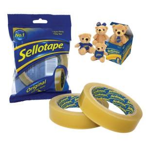 Sellotape 24mm x 66m Golden Tape Pk6 + FREE Sellotape Teddy Bear