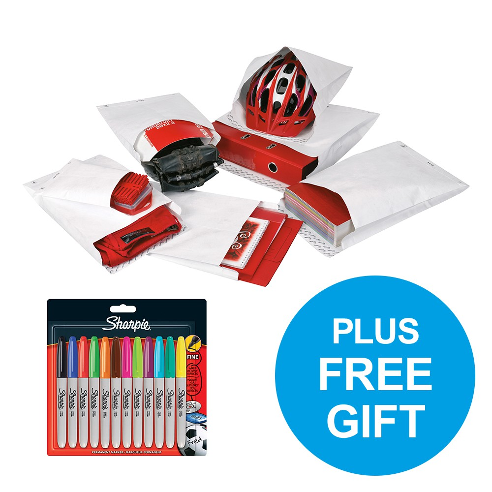 Tyvek Gusseted Envelopes Strong C4 55gsm P&S White Ref 11841 [Pack 100] [FREE Marker Pens] Oct-Dec 2018