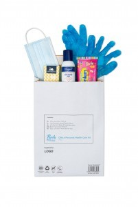 Purely Protect Office Protection Kit Case of 10  5 Prs Gloves, 5 X 3 ply masks, 4 packs face tissues, 1 pack anti bac wipes and 100ml Alcohol sanitiser.
