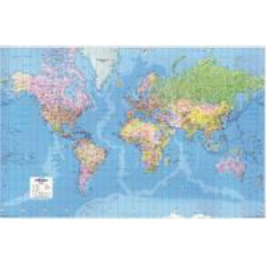 Map Marketing Giant World Political Laminated Map 1840mm x 1200mm GWLD