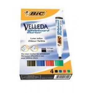 Bic Velleda Whiteboard Marker Chisel Tip Assorted Wallet of 4 1199001754