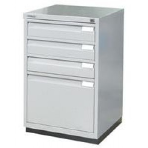 Bisley Filing Cabinet 3+1 Drawer Flush Fronted Lockable Goose Grey 1F3E