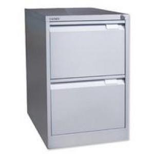 Bisley 2 Drawer Filing Cabinet Lockable Black Flush Fronted BS2E