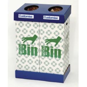 Acorn Office Twin Recycling Bin Blue/Green 802853