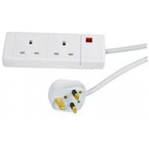 HI Distribution 2-Way Extension Lead 2M White Cable 1002