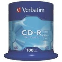 Verbatim CD-R Datalife Non-AZO 80minutes 52X Non-Printable Spindle Pack of 100 43411