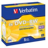 Image for Verbatim DVD+RW 4X Pack of 5 43229